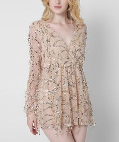 Another great find on #zulily! Apricot Sequin-Accent Surplice Romper #zulilyfinds