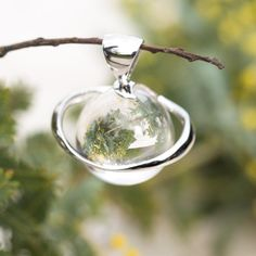 Clear Quartz Sphere Pendant Quartz Stone, Leather Necklace, Clear Quartz, Crystal Jewelry, Christmas Bulbs, Carving, Jewellery, Sterling Silver, Chain