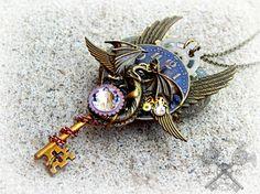 Steampunk Winged Dragon Clock Key Necklace / Bronze Crystal Pendant / Handmade OOAK Watch Gear Fashion Costume Jewelry / Unisex Dragons Gift