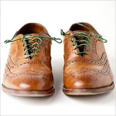 Colored laces make the brogue shoe more casual which helps it to work with jeans