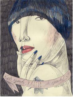 Lámina María Herreros - Karen of the Yeah, Yeah, Yeahs - Gnomo Illustrators, Art Design, Illustrations Posters, Drawing And Illustration, Art Sketchbook, Art Drawings, Drawings, Graphic Illustration, Interesting Art