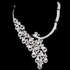 White Beaded Diamond Peacock Design Wedding Jewelry Set Including Earrings,Necklace – USD $ 20.99