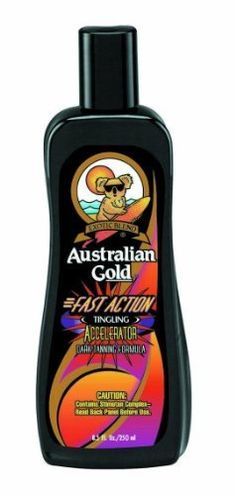 Australian Gold FAST ACTION 8.5 OZ by Australian Gold. $11.95. Hot Tanning Accelerator. Fast Action Accelerator, Kumquat Fragrance, 8.5 oz