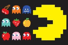 """First released as Puck-Man, the name was later changed to Pac-Man. The original Japanese name was Puck-man, which evolved from the Japanese word paku, meaning """"chomp. Man Vector, Vector Art, Pixel Pacman, Pac Man Costume, Pixel Art, Pac Man Party, 80s Party, Fruit Icons, 80s Theme"""