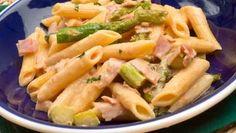 Receta de Macarrones con espárragos verdes y jamón #macarrones #pasta