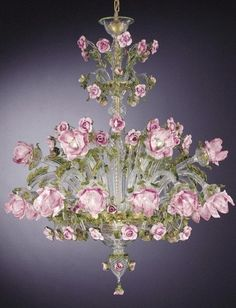 Green, gold and pink Murano rose chandelier - How pretty for a drawing room or ladies library Flower Chandelier, Murano Chandelier, Italian Chandelier, Antique Chandelier, Chandelier Lighting, Italian Lighting, Purple Chandelier, Decoration Shabby, Shabby Chic Decor