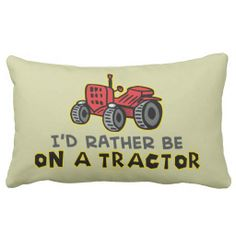 Funny Tractor Throw Pillow
