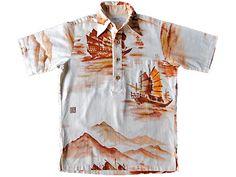 1960年代~1970年代 Surf Lineのハワイアンシャツです。 Hawaiian shirt of the 1960s and 1970s Surf Line. Vintage Hawaiian Shirts, Aloha Shirt, 1970s, Button Down Shirt, Men Casual, Mens Tops, Dress Shirt