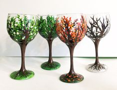 Four Seasons Trees Wine Glass Set