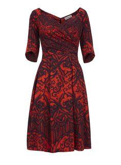 Bombshell 3/4 Sleeve Red Matador Lace Print Flare dress - Nigella Lawsen inspo