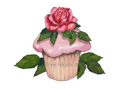 Cupcake Clipart Hand Drawn Clip Art Pink by ToadstoolPrintables