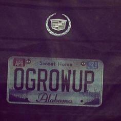 Alabama license plate O-GROW-UP