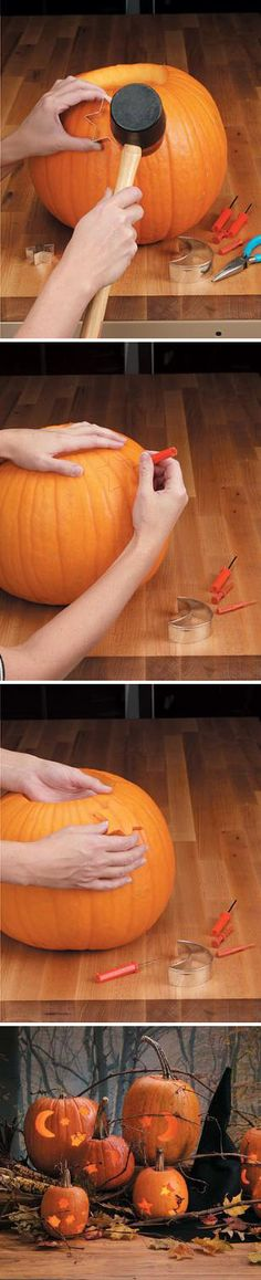 Cookie Cutter Pumpkin | 37 Easy DIY No-Carve Pumpkin Ideas