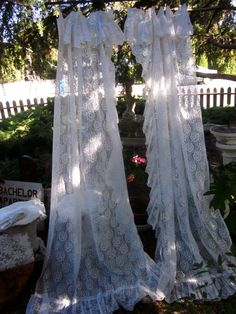 THE PERFECT Pair Vintage White Lace Ruffle Curtain Panels Shabby Chic Long Flowy French Country 2 PAIRS Available