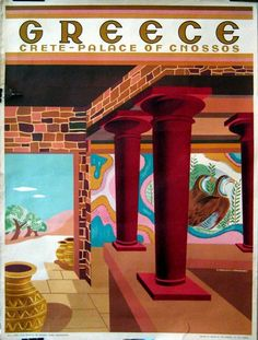 A SLICE IN TIME Greece Isle of Crete Place of Cnossos Greek Vintage Travel Advertisement Art Collectible Wall Decor Poster Print. Measures 10 x inches Vintage Travel Posters, Vintage Ads, Old Posters, Vintage Travel Wedding, Tourism Poster, Greek Art, Greece Travel, Illustrations, 1