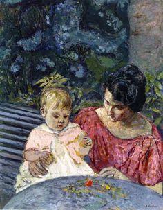 Madeleine Descorps and Her Son Bernard / Edouard Vuillard - 1919-1920