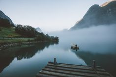 by RobSese fog landscape morning norway reflection sunrise water RobSese Beautiful Norway, Nautical Theme, Creative Photography, Niagara Falls, Beautiful Pictures, Beautiful Places, Travel Destinations, Sunrise, Waterfall