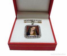 Firmado J.Roca, Broche colgante en oro 18K y diamantes miniatura de pintura esmaltada-C.1940 - Foto 1