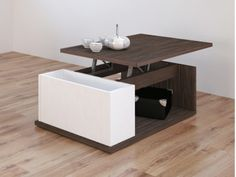 Table basse avec plateau relevable et caisson de rangement. Coloris wengé et blanc