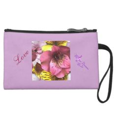 Love and Flowers Wristlet - Sueded Mini Wristlet #love #flowers #wristlet #purple #pretty #womens #fashion #clutch #style #zazzle #moondreamsmusic