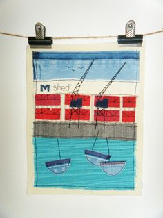 Bristol harbour hand stitched textile art collage created with recycled fabrics by BluePebbleStudio on Etsy