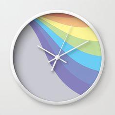Pastel Rainbow Wave Wall Clock by laec Clocks, Pastel, Waves, Rainbow, Creative, Artwork, Rain Bow, Cake