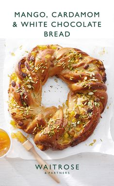 Mango, cardamom & white chocolate bread Sweet mango and white chocolate pair wonderfully with fragrant cardamom. A golden glaze from the apricot jam adds a sheen to this impressive loaf. Tap for the full Waitrose & Partners recipe. Cardomom Recipes, Waitrose Food, Tailgate Food, Mango, Pain, No Bake Cake, Cooker Recipes, Healthy Dinner Recipes, Love Food
