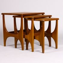 Danish Modern / Mid century Modern sculptural teak nesting tables - set of three