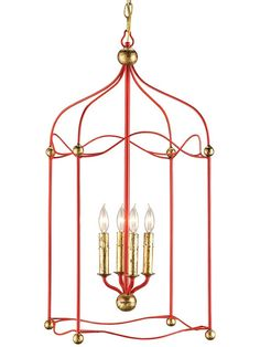Currey and Company 9033 Carousel 4 Light Lantern Lollipop Red / Gold Leaf Indoor Lighting Pendants Red Lantern, Lantern Pendant, Light Pendant, Iron Chandeliers, Chandelier Lighting, Lantern Lighting, Elegant Chandeliers, House Lighting, Island Lighting