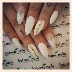 White stiletto nails w/ gold chains