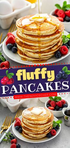 You have all the classic staples in your pantry and fridge for the best breakfast! Learn all the tips and secrets to make the perfect homemade pancakes that turn out soft and fluffy every single time. Serve warm with butter and maple syrup! Save this easy recipe!