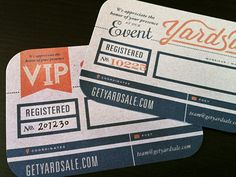 Yardsale Event VIP Cards designed by Sarah Mick (California)