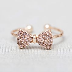 Lovely and cute Gold Rhinestone bow little finger Ring $11
