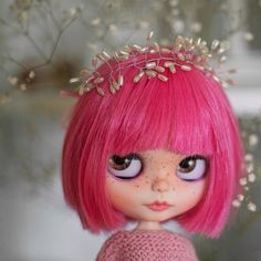 Pink Blythe doll Custom Blythe Doll Collection doll Blythe doll Handmade Doll OOAK doll OOAK Blythe doll Decoration doll by Master Diana E.