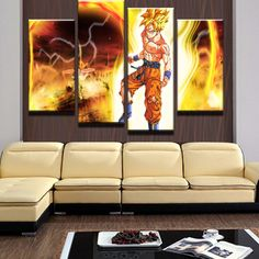 4 Panel HD Printed Dragon Balls Modular Picture Painting Canvas Wall Art Picture Home Decoration Living Room Print Modern Painti Painting Canvas, Canvas Wall Art, Canvas Prints, Framed Prints, Living Room Prints, Living Room Decor, Wall Art Pictures, Print Pictures, Panel Wall Art