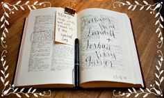 A dictionary or copy of your favorite book: While it might seem a bit weird to let guests write on the pages of an already wordy tome, this is one guest book alternative that you'll actually flip through more than a few times. - See more at: http://weddings.usabride.com/#sthash.B1sxIQ37.dpuf