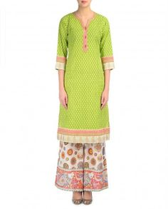 Spring Green Kurta and Madhubani Print Palazzo Set