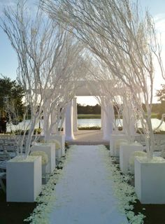 White Tree Fl Décor Down The Aisle At Ritz Carlton Wedding Ceremony Gazebo In Orlando