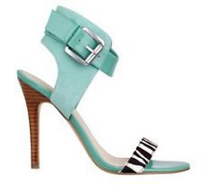GUESS 'Heshia' Light Green Multi Suede Ankle Cuff Stacked Stiletto Heel Sandal with contrasting toe strap