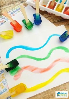 Check out this simple and fun way of painting! Using ice cubes to paint! What you will need: water, dye or food colouring, ice block sticks and an ice cube tray! Freeze over night ready for the next day!