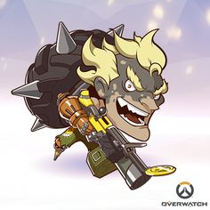 Enjoy this tall Spray of your favorite Overwatch character, in sticker FORM! Character Concept, Concept Art, Character Design, Chibi Overwatch, Junkrat And Roadhog, Funny Naruto Memes, Comic, Kawaii, Video Game Art