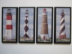 Lighthouses 4pc set nautical style wall decor plaques, blue red white black, beach theme bathroom  or ocean bath