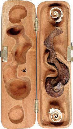Paulo laender - CAIXA DA ORIGEM DA VIDA - escultura em cedro e cipó encontrado - Data 2001 - Dim 40 x 78 cms