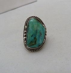 HUGE NAVAJO INDIAN STERLING SILVER CANDELARIA TURQUOISE GEM MEN'S RING SIZE 10
