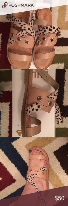 NIB cheetah print / calf hair flat sandals NIB flat sandals by Bull Boxer. All genuine leather. Great with any outfit. Nude with cheetah print calf hair accent. Bull Boxer Shoes Sandals