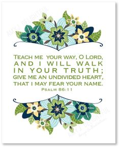 TEACH Me YOUR WAY O Lord scripture print Blues by amyjdelightful, $7.00