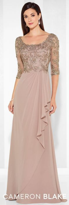 LOVE Prom Dresses Formal Evening Gowns by Mon Cheri - Spring 2017 - Style No. 117612 - chiffon evening dress with beaded lace illusion three-quarter length sleeves and bodice Best Evening Dresses, Chiffon Evening Dresses, Lace Gowns, Evening Gown With Sleeves, Formal Evening Gowns, Formal Gowns With Sleeves, Lace Dress With Sleeves, Chiffon Skirt, Dress Formal