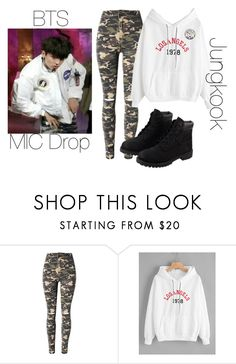 """""""BTS MIC Drop Jungkook inspired outfit"""" by melaniecrybabyz on Polyvore featuring WithChic and Timberland"""