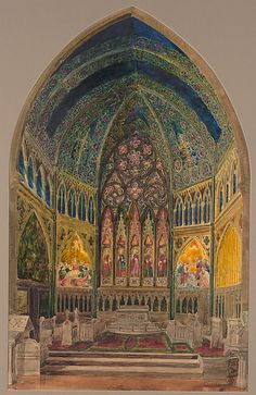 J.A. Holzer (1858–1938). Design for chancel of Christ Church, Bedford Avenue, Brooklyn, New York, ca. 1899. The Metropolitan Museum of Art, New York. Purchase, Walter Hoving and Julia T. Weld Gifts and Dodge Fund, 1967 (67.654.8) #newyork #nyc