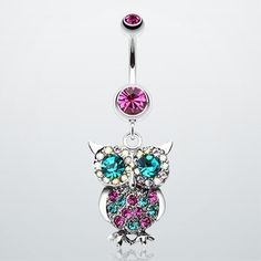 Jeweled Sparkling Owl Dangle Belly Ring makes me want to go get my belly button pierced, just for this! Belly Button Piercing Jewelry, Bellybutton Piercings, Cute Piercings, Navel Piercing, Piercing Tattoo, Body Piercing, Cute Belly Rings, Dangle Belly Rings, Belly Button Rings